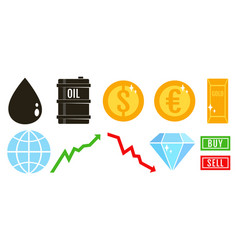 set icons for stock exchange vector image