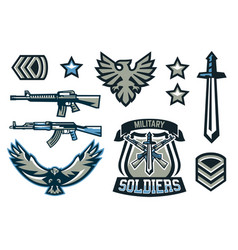 Set of military and military badges emblems vector