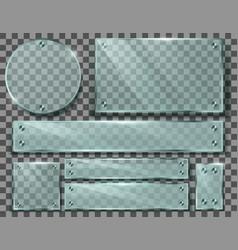 set transparent glass plates with screws vector image