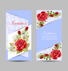 set vertical banners with beautiful roses vector image