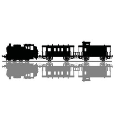 silhouette an old steam train vector image