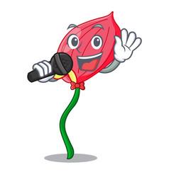 Singing anthurium flower pink in cartoon garden vector
