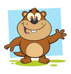 Smiling marmot cartoon character waving vector