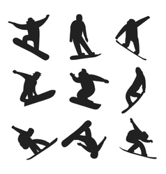 Snowboarder jumping different pose black and white vector