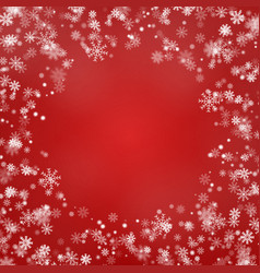 snowflake round border isolated on red back vector image