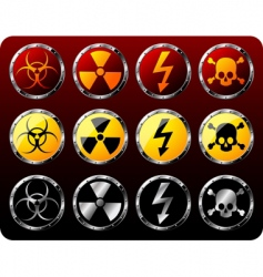 steel shields with warning symbols vector image vector image
