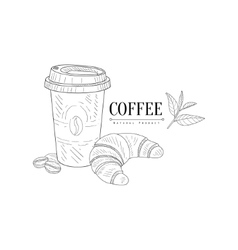 Take Away Coffee And Croissant Hand Drawn vector