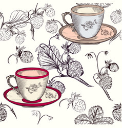 Tea or coffee background with cups and strawberry vector