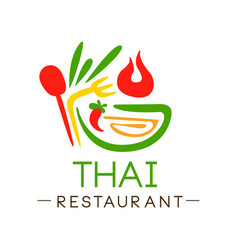Thai restaurant logo design authentic traditional vector