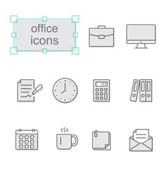 Thin line icons set Office vector