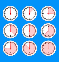 time clock icon set flat design vector image
