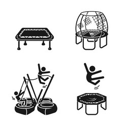 Trampoline icons set simple style vector