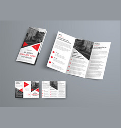 Tri-fold brochure template in modern style with vector