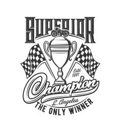 Tshirt print with bike racer trophy retro design vector