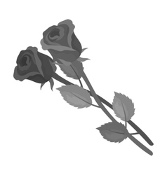 Two roses icon in monochrome style isolated on vector image