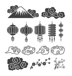 vintage asian element silhouettes traditional vector image