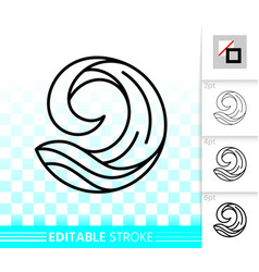 water wave simple black line splash icon vector image