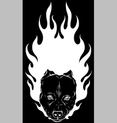 White silhouette head bull dog with flame vector