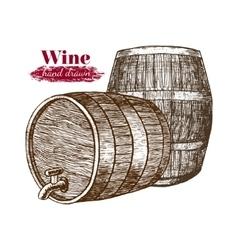 Wine Barrels Hand Draw Sketch vector