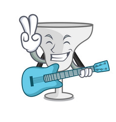 With guitar margarita glass mascot cartoon vector