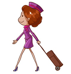 A simple drawing of an air hostess vector