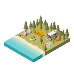 camp near lake isometric vector image vector image
