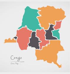 congo democratic republic map with states vector image