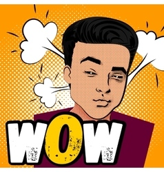 daring young man makes selfie duck face vector image vector image