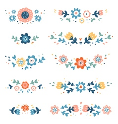 Decorative colorful floral compositions vector image vector image