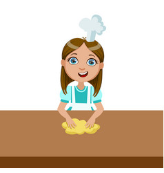 girl kneading the dough cute kid in chief toque vector image