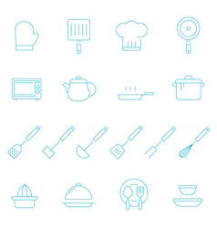 Thin lines icon set - kitchenware vector image