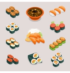 Asia food icons Rolls sushi miso soup and vector image vector image