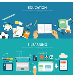 concepts of education and e-learning flat design vector image vector image