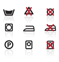 laundry care symbols and signs icons vector image vector image