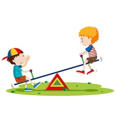 Two boys playing seesaw in the park vector image