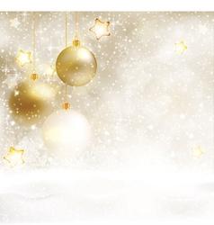 White golden winter Christmas background vector image vector image