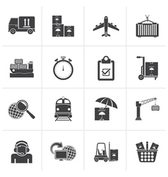 Black Cargo shipping and logistic icons vector image vector image