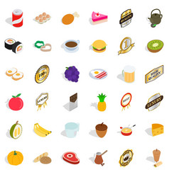 fruit icons set isometric style vector image vector image