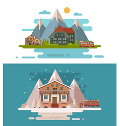 set of rustic dwellings vector image