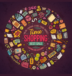 set of shopping cartoon doodle objects vector image