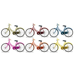 Six colorful bikes vector image