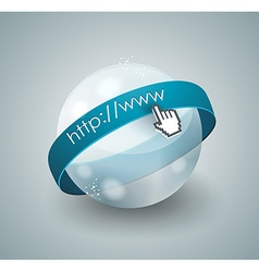 3d of abstract glass globe and mouse cursor vector image vector image