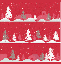 christmas trees greeting card vector image