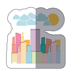 colorful city builds with clouds and sun vector image vector image