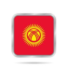 flag of kyrgyzstan metallic gray square button vector image vector image