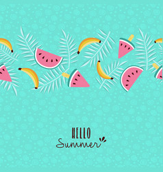 hello summer tropical fruit pattern greeting card vector image