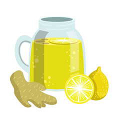 lemon and ginger smoothie non-alcoholic fresh vector image