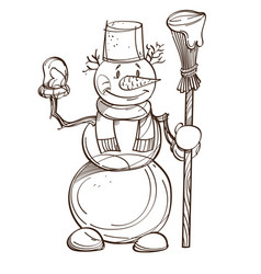monochrome snowman with carrot scarf bucket on vector image vector image