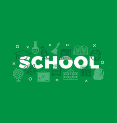 school concept with icons and signs vector image