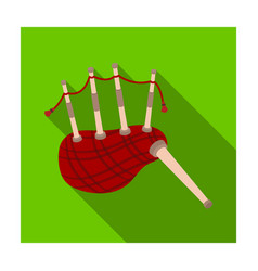 scottish bagpipes icon in flat style isolated on vector image
